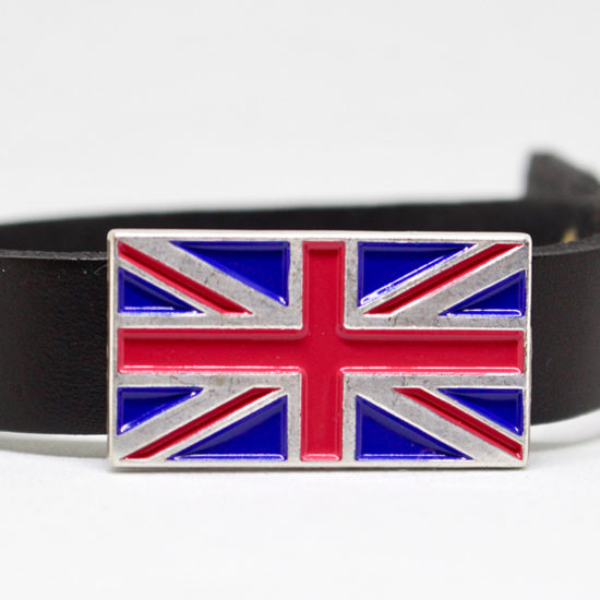 Union Jack jewellery on arm