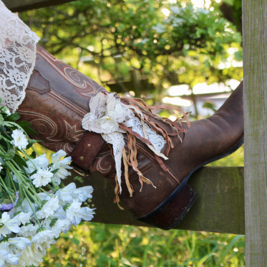 Pretty handmade boot strap on girls boot in flowers